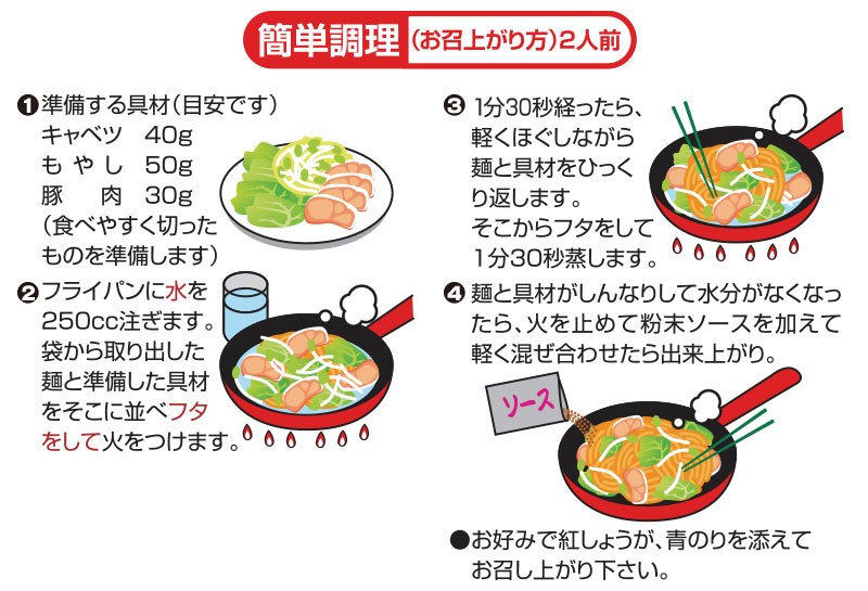 麺処小川屋の香味焼きそばの簡単調理方法